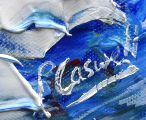 p. caswell signature on a painting