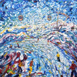 Plattieres 3 Meribel Val Thorens Skiing Snowboarding Painting