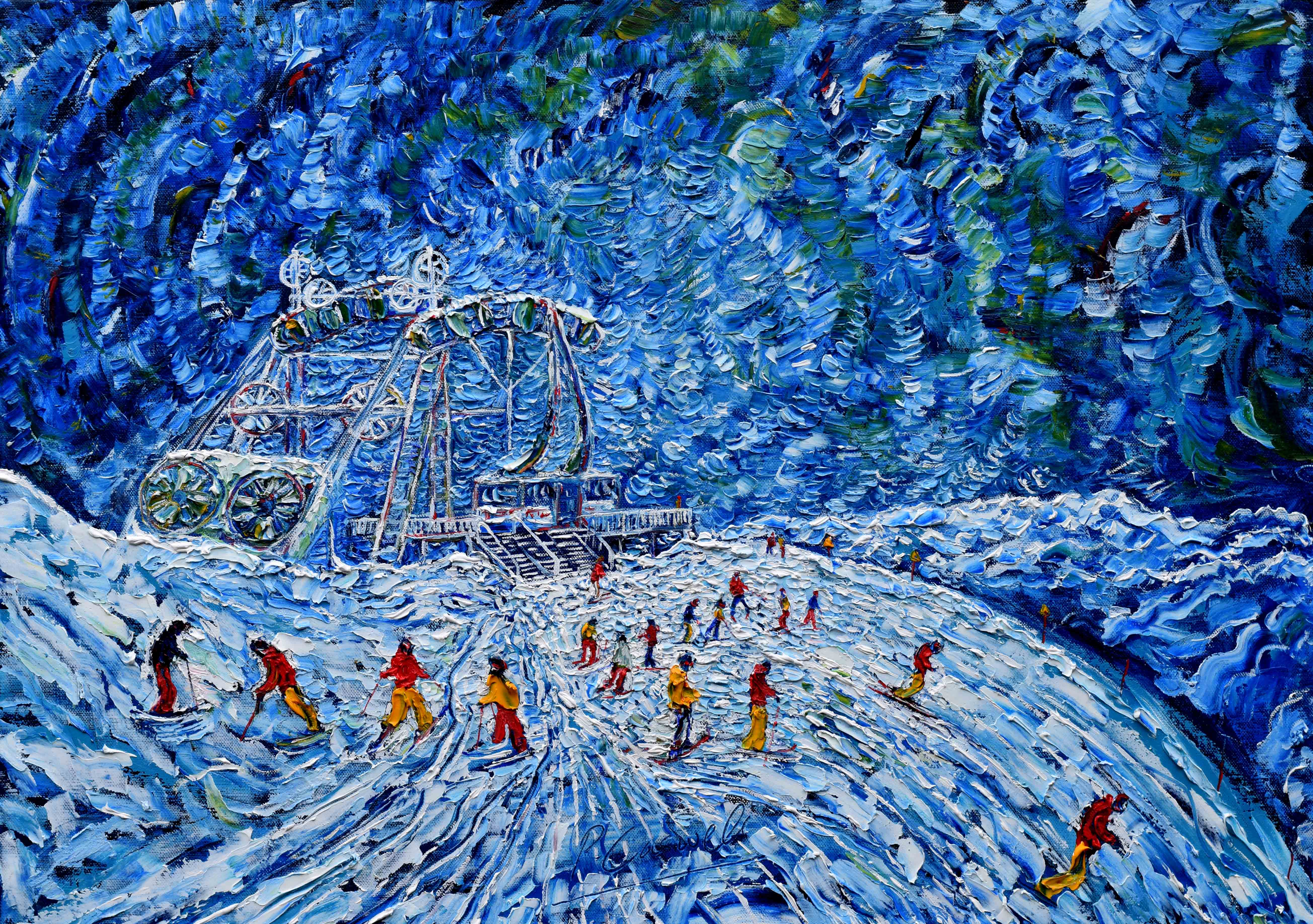 Tignes Val d'Isere Skiing Painting