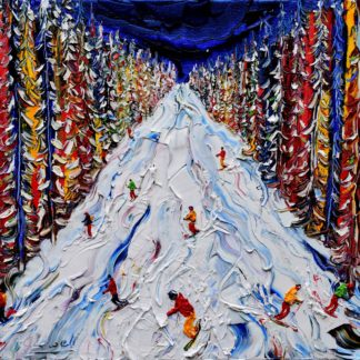 Abstract painting of the trip down to Klosters through the trees . Lots of colour lots of fun as you make your way through the amazing trail from Schifer / Gotschnagrat down to Klosters through the beautiful woodland kreuzweg piste.