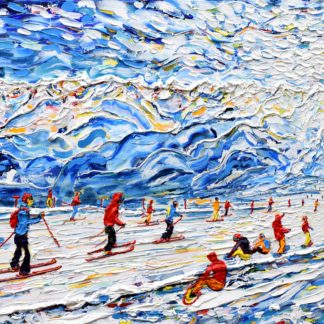 Tignes and Val d'Isere Grande Motte Skiing and Snowboarding Painting