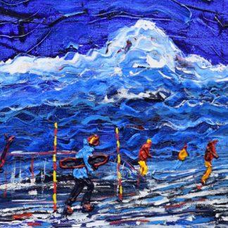 Les Arcs Aguille Rouge Ski Painting