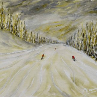 Megeve skiing painting