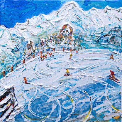 Les Arcs Skiing Painting