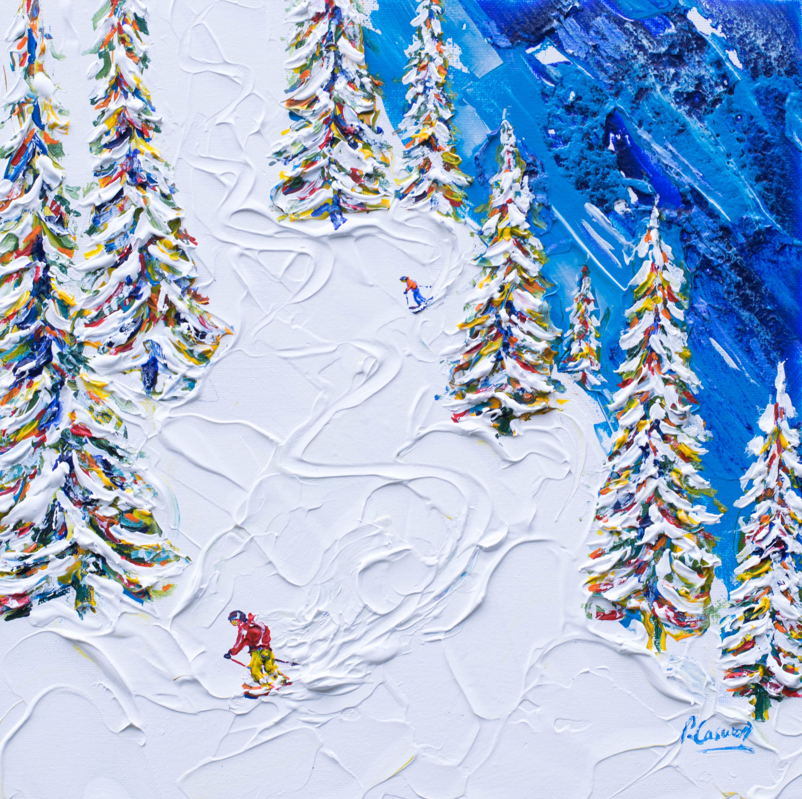 Morzine off Piste Skiing Painting