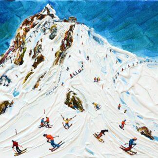 Meribel Courchevel Skiing Painting Saulire