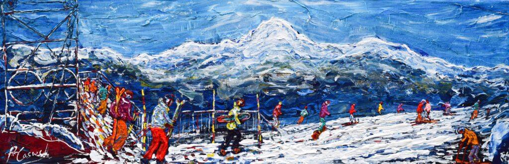 Les Arcs Ski Painting and Ski Print
