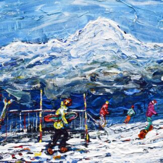 Les Arcs Ski Painting and Ski Print