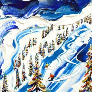 les arcs off piste ski painting