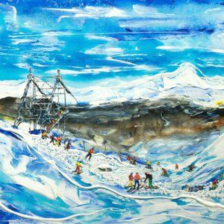 Les Arcs Ski Poster Ski Print and Painting above Les Arcs 2000 and Mt Blanc