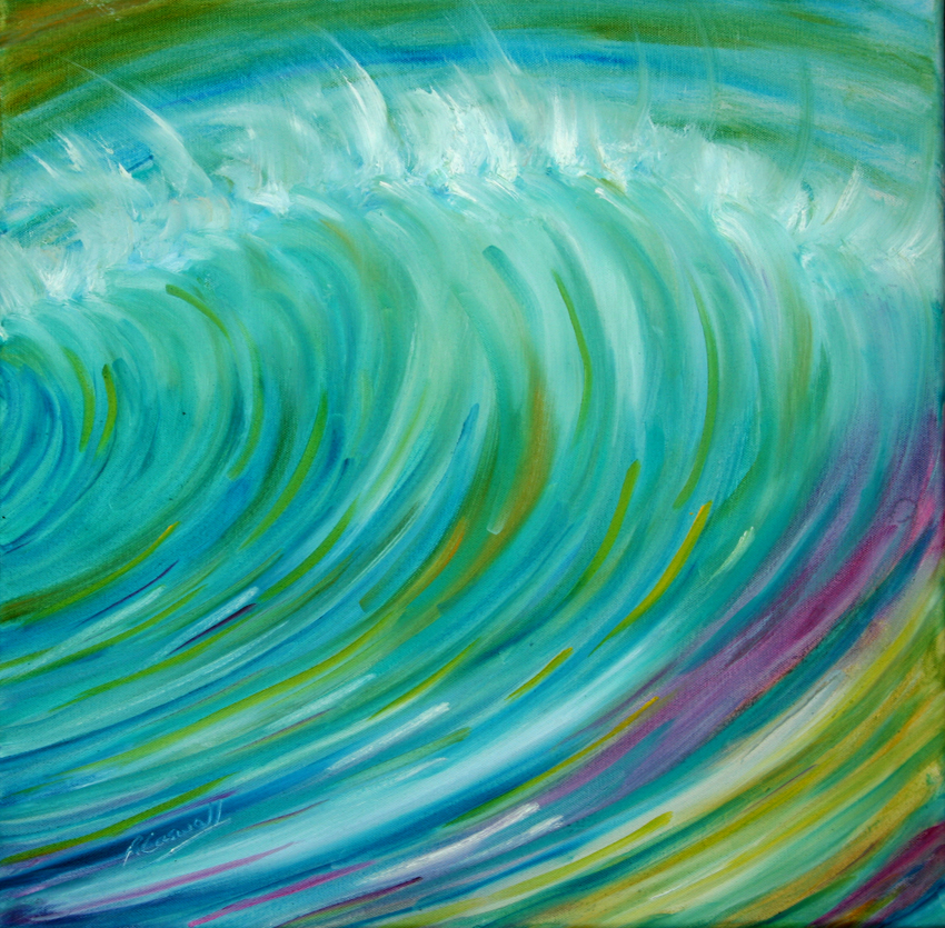 Surfing wave painting Caribean