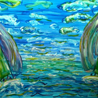 Caribbean Sailing Painting For Sale with Spinakers flying British Virgin Islands
