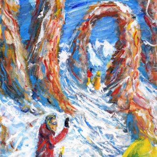 Tignes Skiing Painting