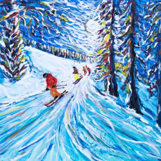Zermatt Ski Painting and Ski Prints