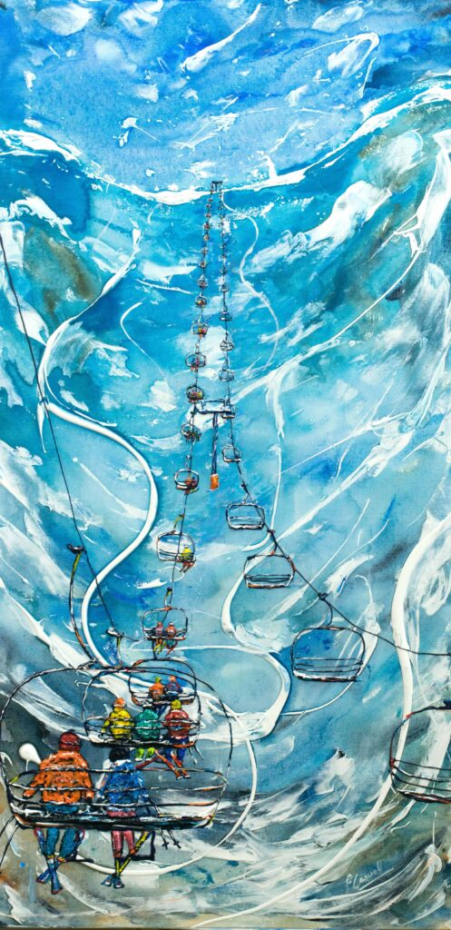 Tignes Val d'Isere Ski Painting and Ski Poster, Chair Lift