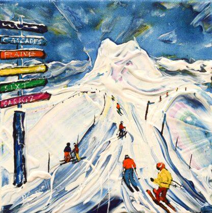 Flaine Grande Massif Ski Painting and Ski Print