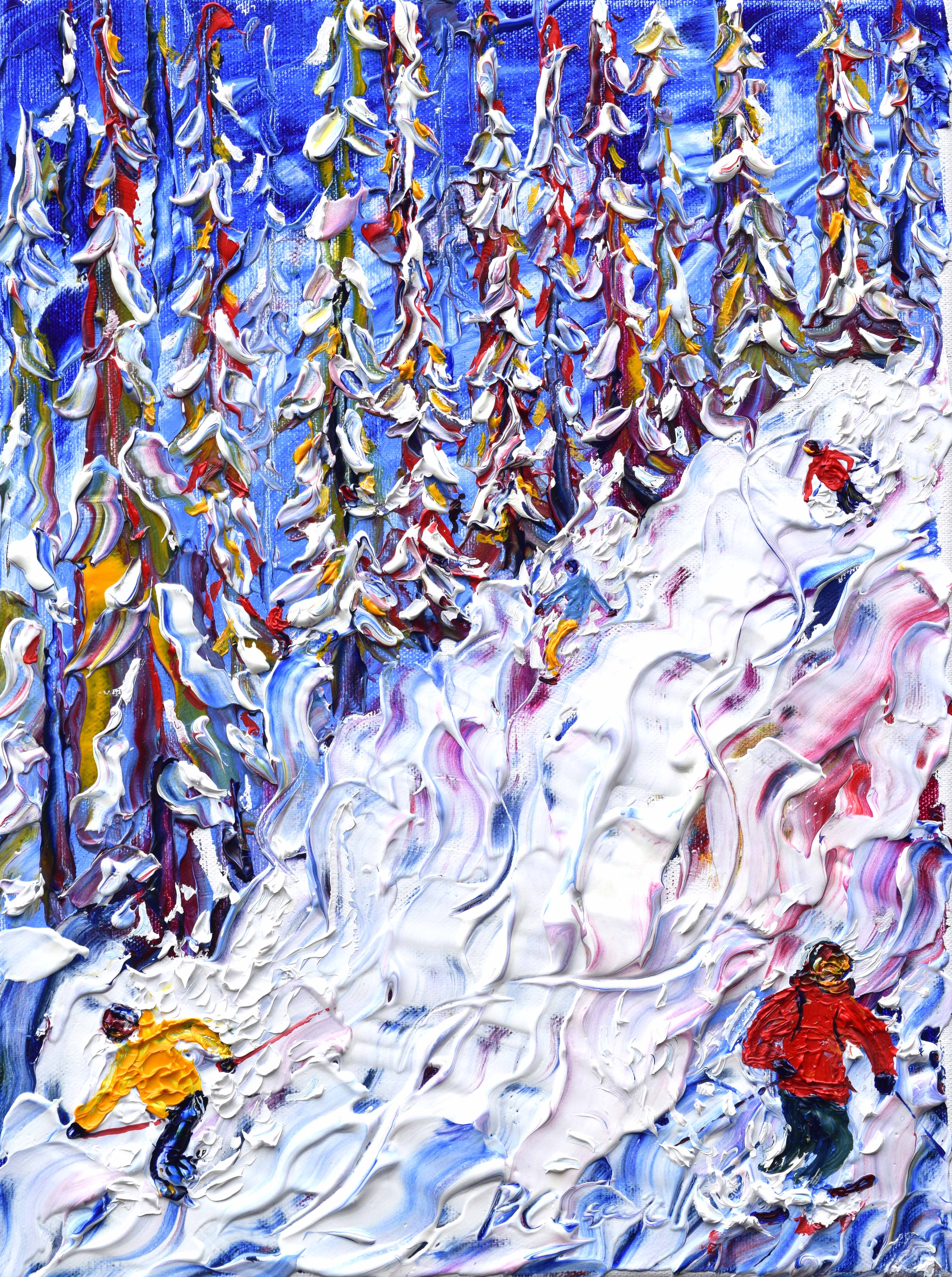 Morzine off piste skiing painting in the woods