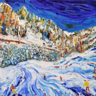 Cortina Dolomites skiing painting