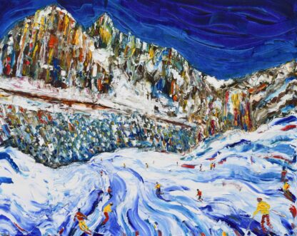 Cortina Dolomites, Italy Ski Painting Ski Print