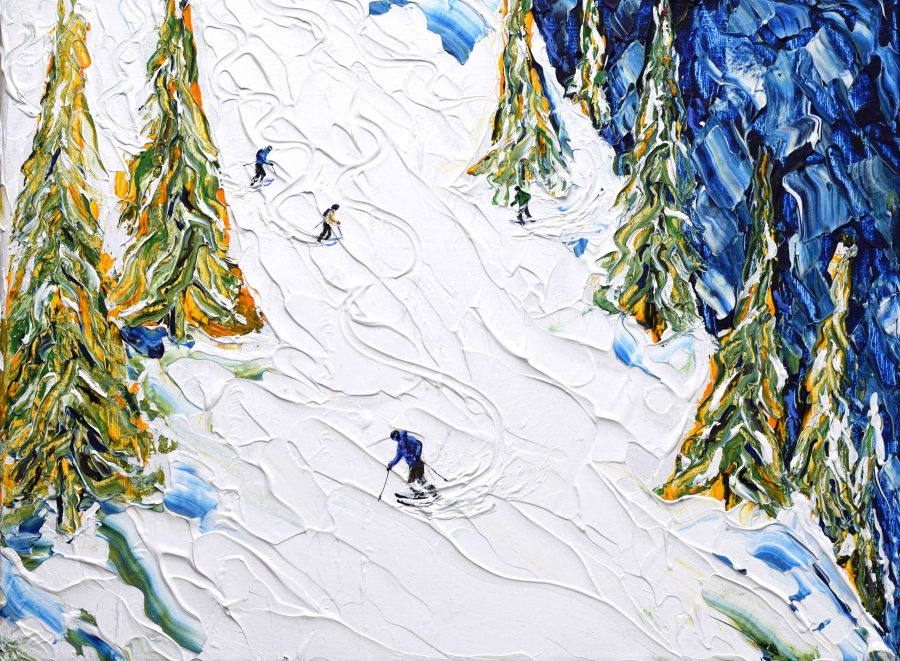 Les Gets off pistes ski painting