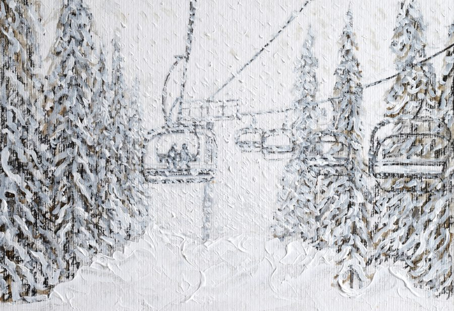 Snowy Ski Lift Painting Grande Massiff