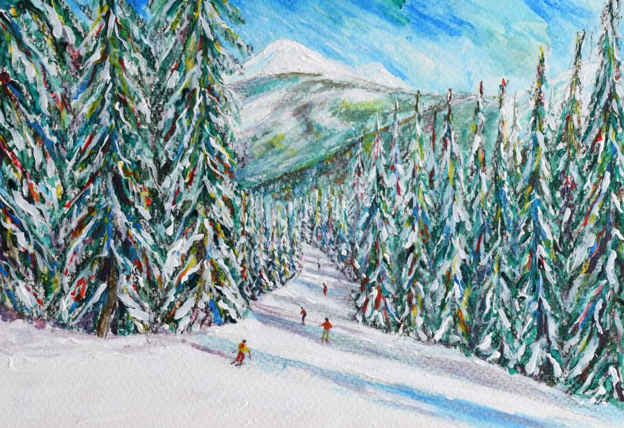 Les Gets Morzine Skiing Painting