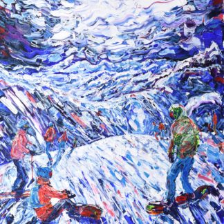 Tignes Le Lac Snowboarding Painting Print