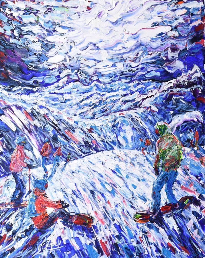 Tignes Le Lac Snowboarding Painting