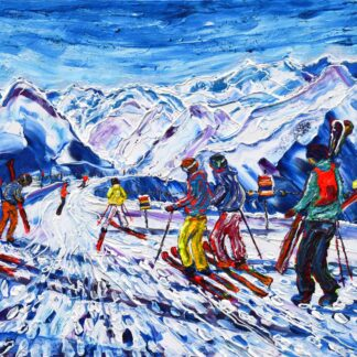 Verbier Mt Fort Ski Painting