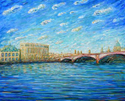 Blackfriars Bridge and St Paul's Painting London River Thames