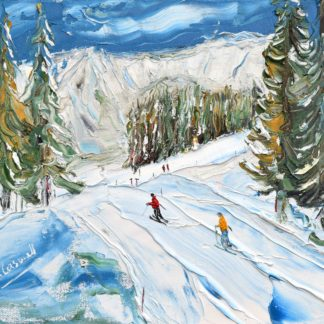 Megeve skiing in the woods painting