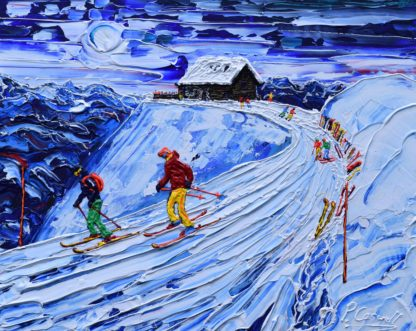 verbier restaurant painting of skiers leaving the cabane restaurant in winter