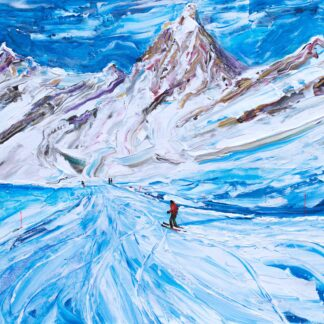 Cervinia Ski Painting and Ski Poster