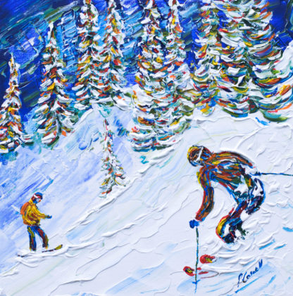 Verbier off piste skiing painting