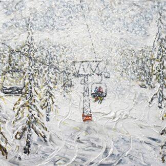 Verbier Ski Painting and Ski Print