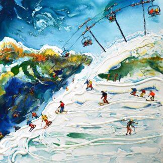 Portes du Soleil Swiss Wall Ski Print and Ski Poster