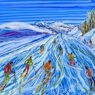 La Plagne skiing painting