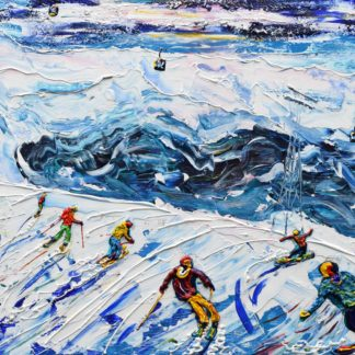 La Plagne ski painting and ski print