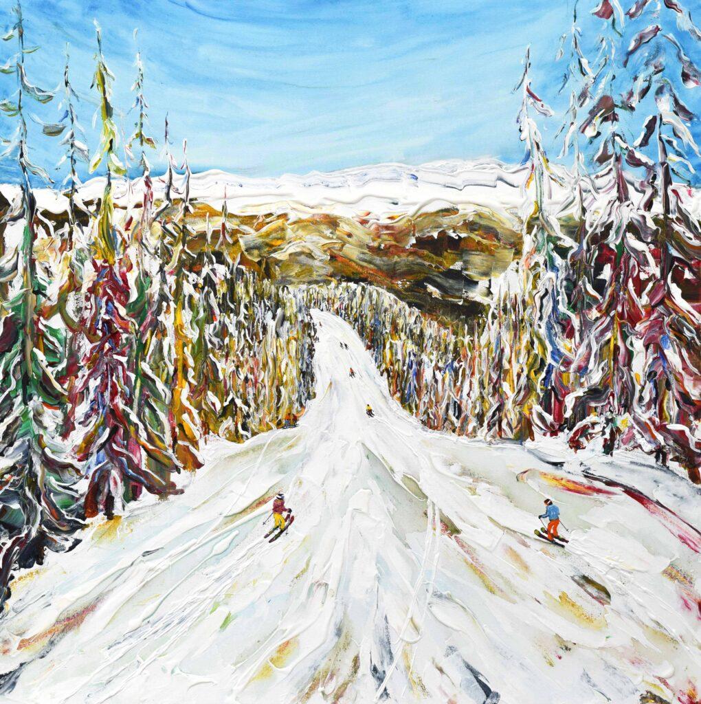 La Plagne Les Arcs Ski Painting and Ski Print