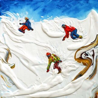 Snowboarder Painting and Poster Meribel, Val Thorens and Courchevel