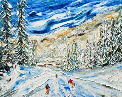Avoriaz Skiing Painting