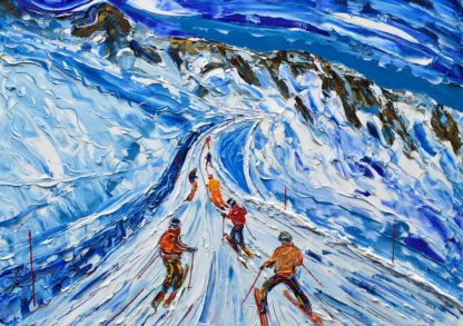 La Plagne Paradiski skiing painting
