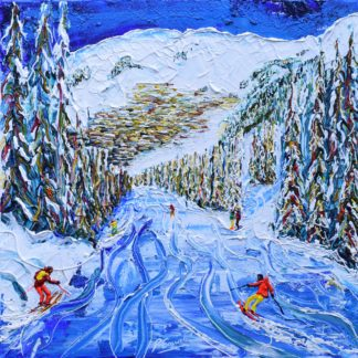 Verbier skiing painting and prints
