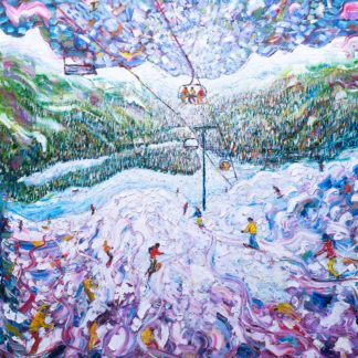 Meribel Skiing Painting and Ski Print
