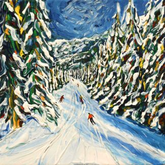 Morzine tree line skiing painting