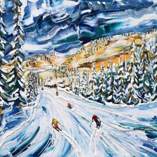 Morzine Avoriaz skiing painting