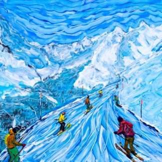 Zermatt Skiing Painting of the Matterhorn