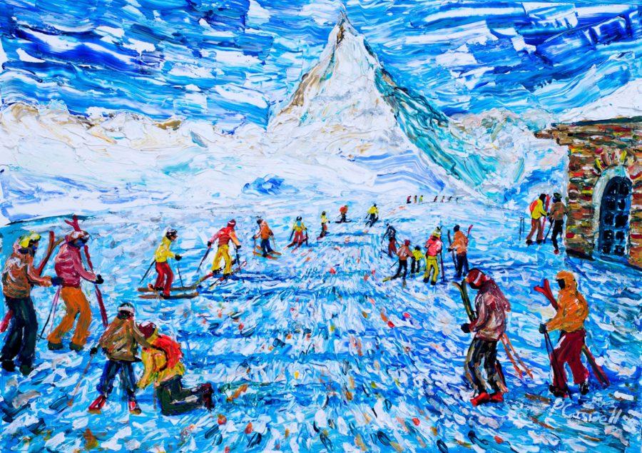 Matterhorn Zermatt Skiing painting