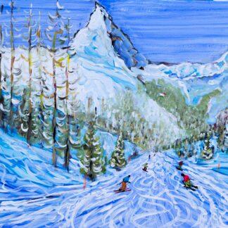 Zermatt Ski Painting and Ski Print