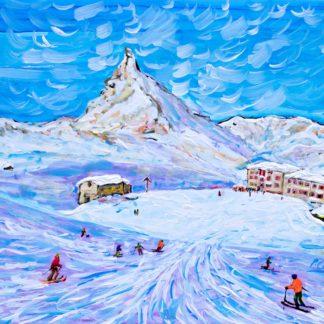Zermatt ski prints and Skiing paintings